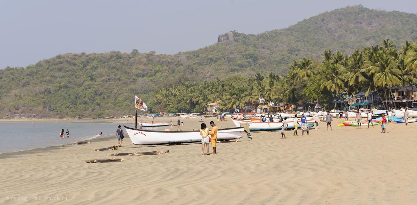 Фото 8. Вид на северный участок пляжа Палолем. Отдых в Южном Гоа в Индии. Отлив. 1/250, 0.33, 9.0, 150, 70.