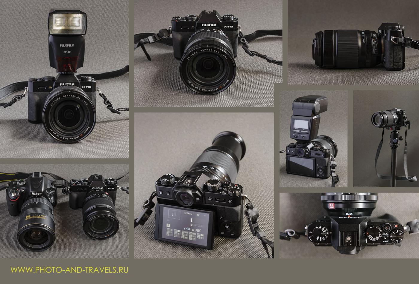Фото 1. Внешний вид системной компактной камеры Fujifilm X-T10 со светосильным портретником Fujinon 16-50mm f/2.8 и с тёмным телеобъективом Fujifilm 55-200mm f/3.5-4.8, внешней вспышкой FujifilmEF-42, на штативе Sirui T-2204X с головкой G-20KX.