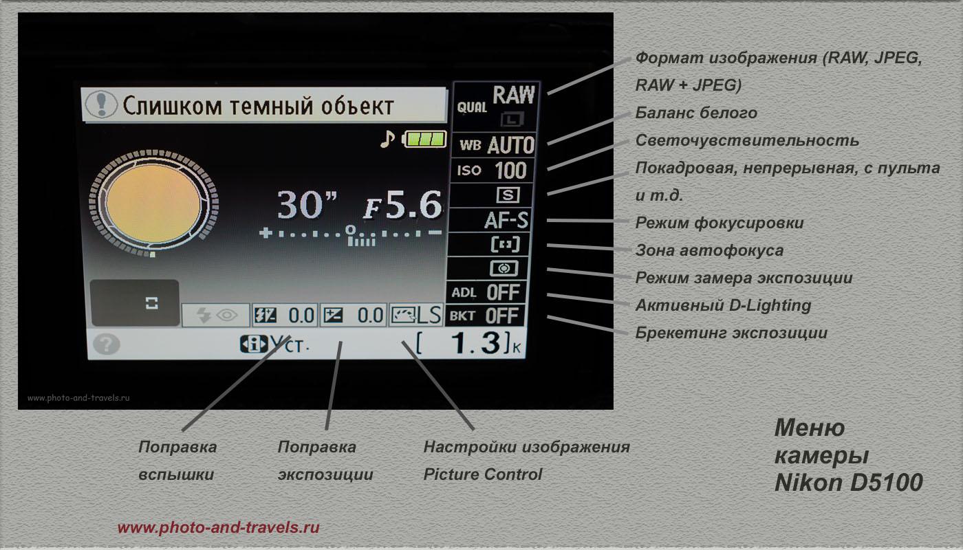 Фотография 22. Операционное меню зеркального фотоаппарата Никон Д5100. Фотограф постоянно применяет разные настройки в зависимости от сюжета и условий освещения.