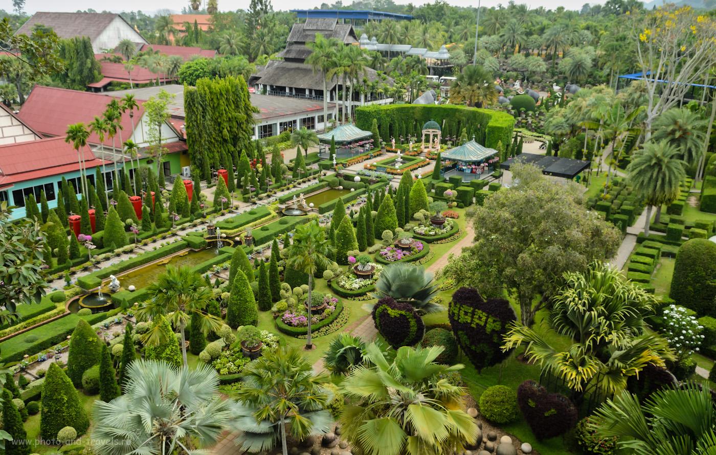 """7. В левом верхнем углу - здание театра Национального Шоу. Слева - Итальянский, справа - Европейский сад. Рассказ про поездку в ботанический сад Паттайи """"Nong Nooch Tropical Botanical Garden"""" самостоятельно. Отдых в Таиланде во второй раз."""