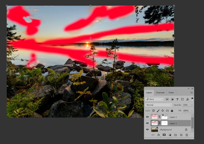 Фото 24. Рисуем выбранным цветом по необходимым нам областям. Прозрачность слоя – 100%.