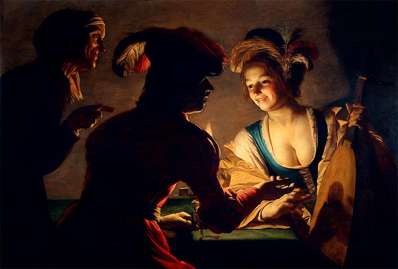 Фото 42. Картина «Сводня», написанная голландским живописцем Герритом ван Хонтхорстом в 1625 году. Техника кьяроскуро позволила нарисовать объемную картинку за счет правильного распределения светов и теней.Основы теории цвета для фотографов.