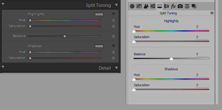 Фото 50. Панели раздельного тонирования в Lightrom (слева) и в ACR Photoshop (справа). Изучаем основы теории цвета.