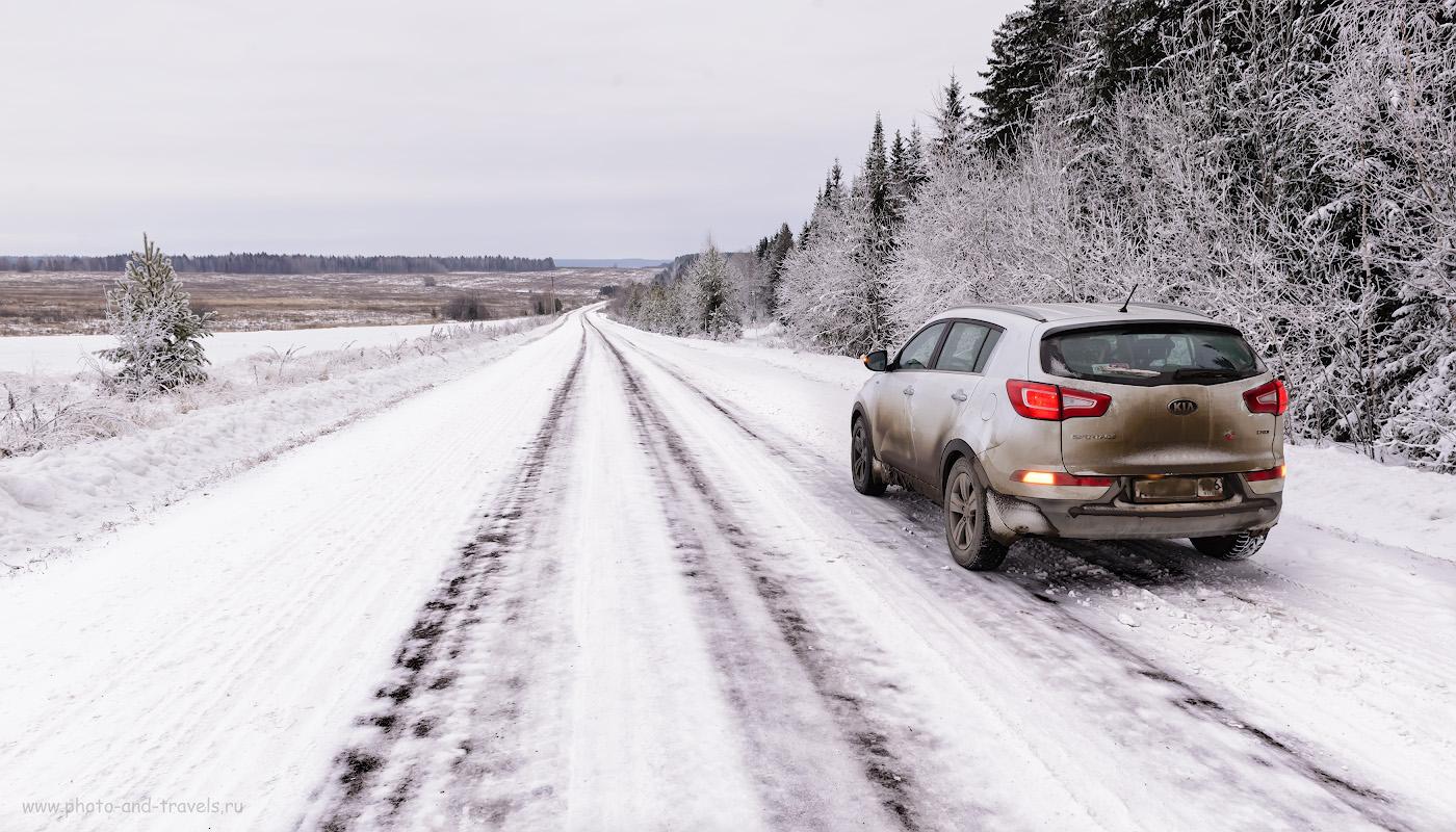 Фото 7. Как выглядит дорога из Суксуна в Сасыково. Поездка к водопаду Плакун зимой. Отзывы туристов о путешествии по Пермскому краю на машине.