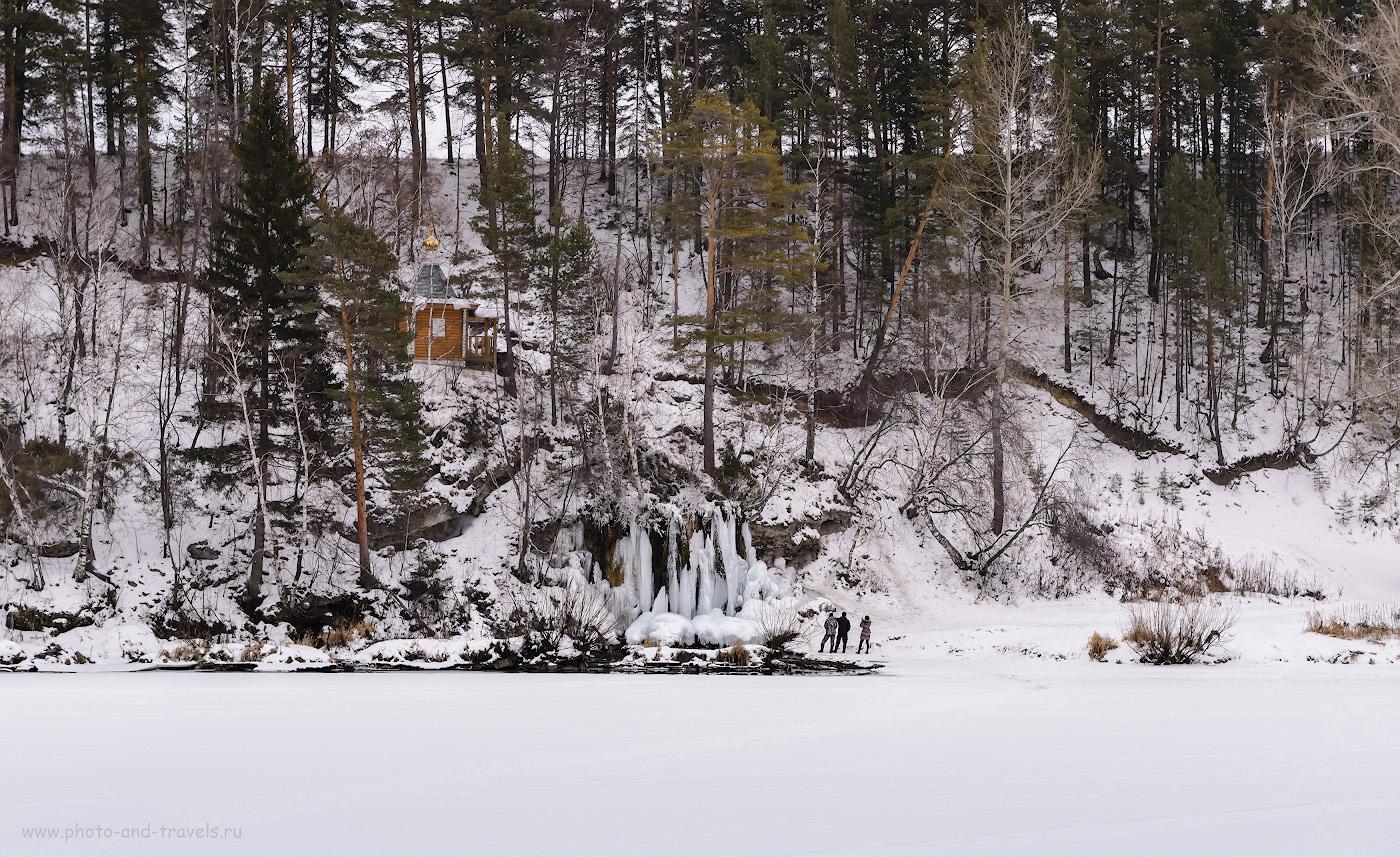 Фотография 10. Водопад Плакун и часовня Ильи Пророка в Пермском крае. Отзыв о путешествии по Пермскому краю на машине зимой.
