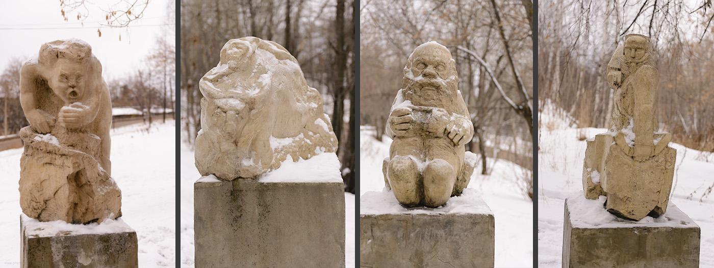 Фото 5. Вот такие странные скульптуры провожают взглядом туриста, попавшего в Суксун. Как добраться к водопаду Плакун в Пермском крае.