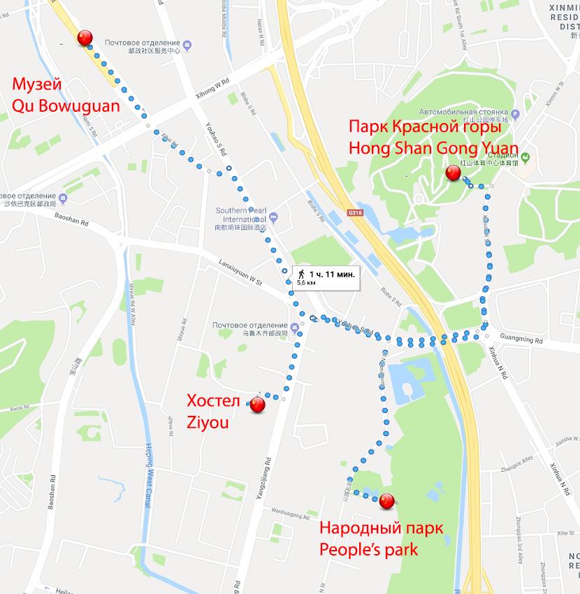 Фото 17. Карта расположения достопримечательностей в Урумчи.