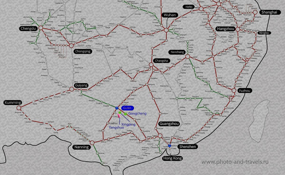 Карта со схемой скоростных дорог на юге Китая. Как добраться в Гуйлинь из крупных городов. Красные линии - скорость поездов больше 217 км/ч (G-train HRS), зеленые - 155 км/ч (non G-train), серые - проектируемые.