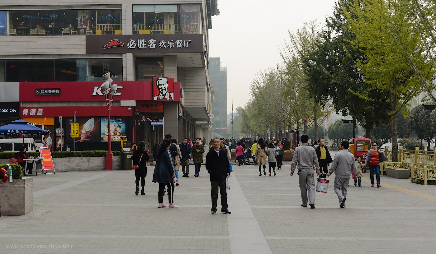 Фотография 9. Кафе быстрого питания «KFC» у торгового центра Kai Yuan Shopping Mall (开元商城) в Сиане. Отзывы туристов о самостоятельном путешествии в Китай. 1/2000, -0.67, 2.8, 100, 56.