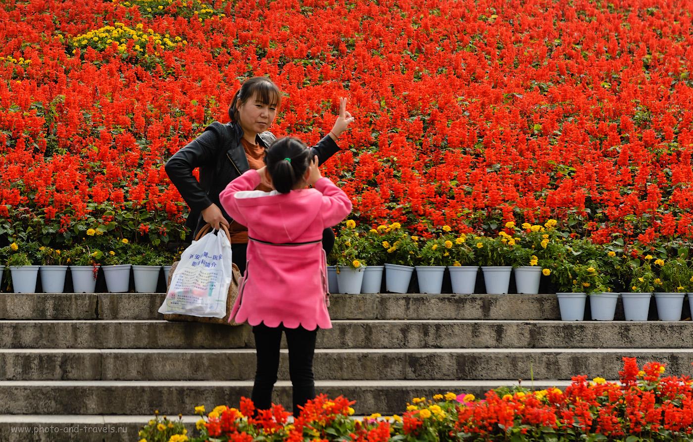 Фотография 10. Фотосессия в цветах у Колокольной башни. Отзыв об экскурсиях в Сиане во время путешествия по Китаю. 1/800, -1.0, 5.0, 100, 70.