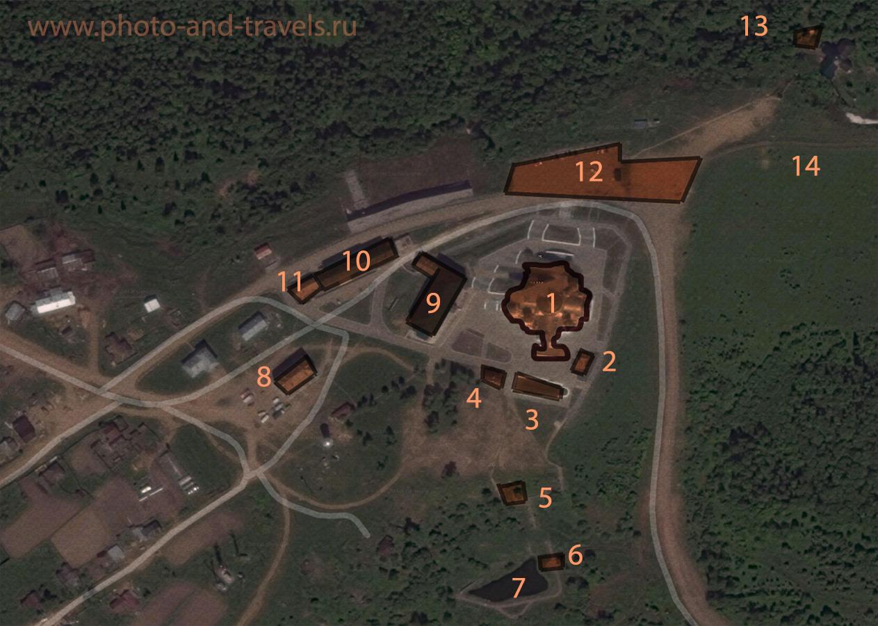 Фото 4. Карта размещения построек на территории Белогорского монастыря.