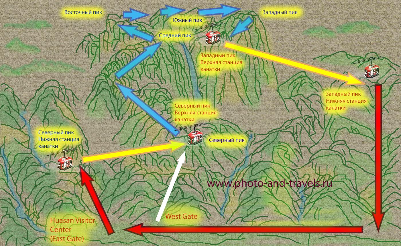 22. Схема тропинок на горе Хуашань. Как подняться пешком или на подъемнике.