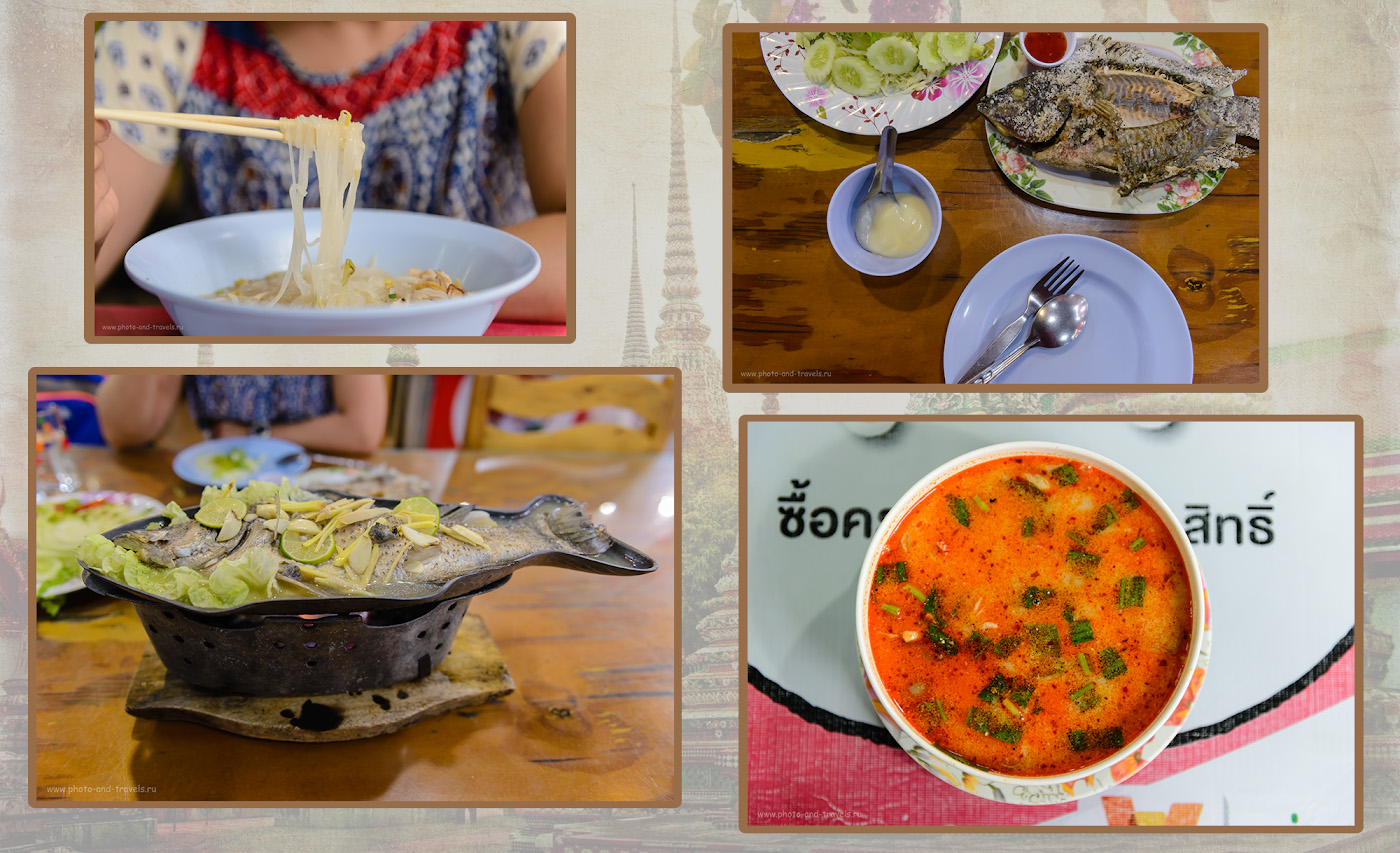 Фото 26. Что кушать в Паттайе? Типичное меню: рисовая лапша или рис, суп Том Ям, морепродукты, рыба.