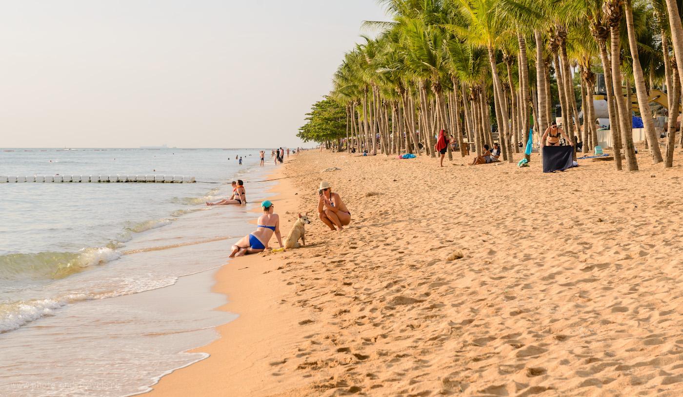 Фото 10. Можно ли купаться в Паттайе? Многие туристы считают, что ответ - «Да». Пляж Джомтьен в октябре. Вид на север Советы, отдыхающим в Таиланде. 1/160, +1.0, 8.0, 125, 70.