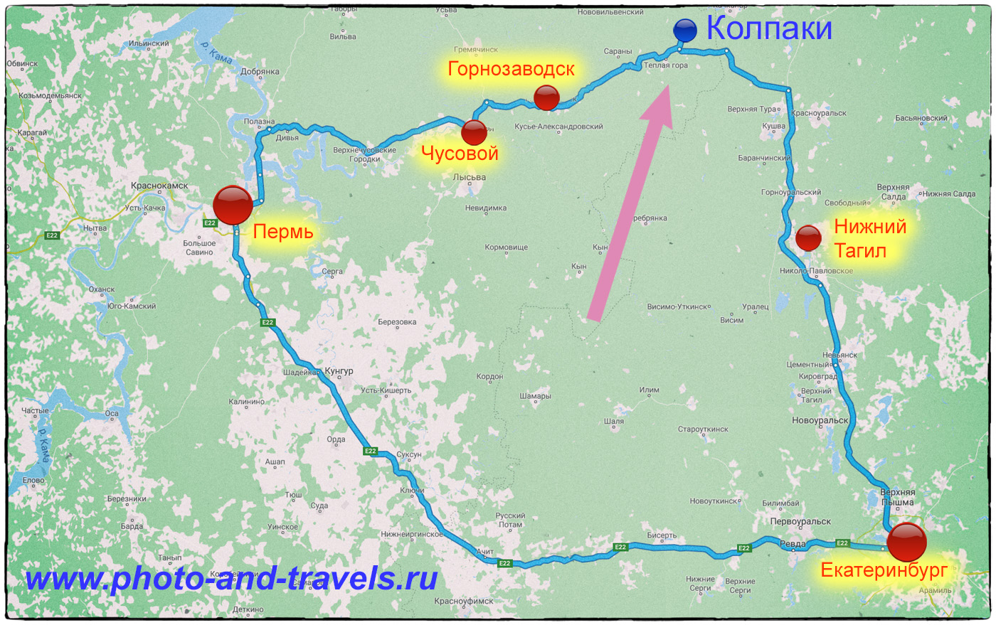 Фото 19. Карта со схемой, как добраться до горы Колпаки самостоятельно на автомобиле или на автобусе.