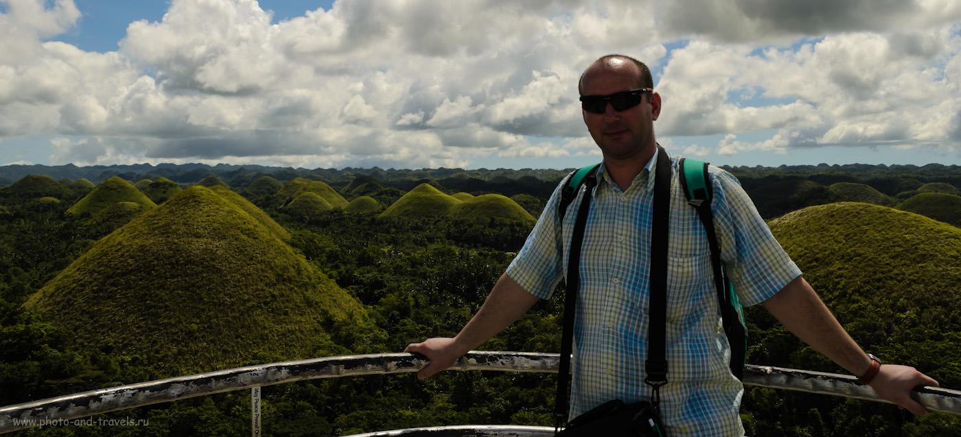 Фото 18. Ситуация, когда очень бы помогла заполняющая вспышка или белый отражатель. Снято на Nikon D5100 КИТ 18-55mm f/3.5-5.6. Шоколадные холмы (Chocolate Hills) на филиппинском острове Бохоль (Bohol island). 1/250, 13.0, 100, 22.