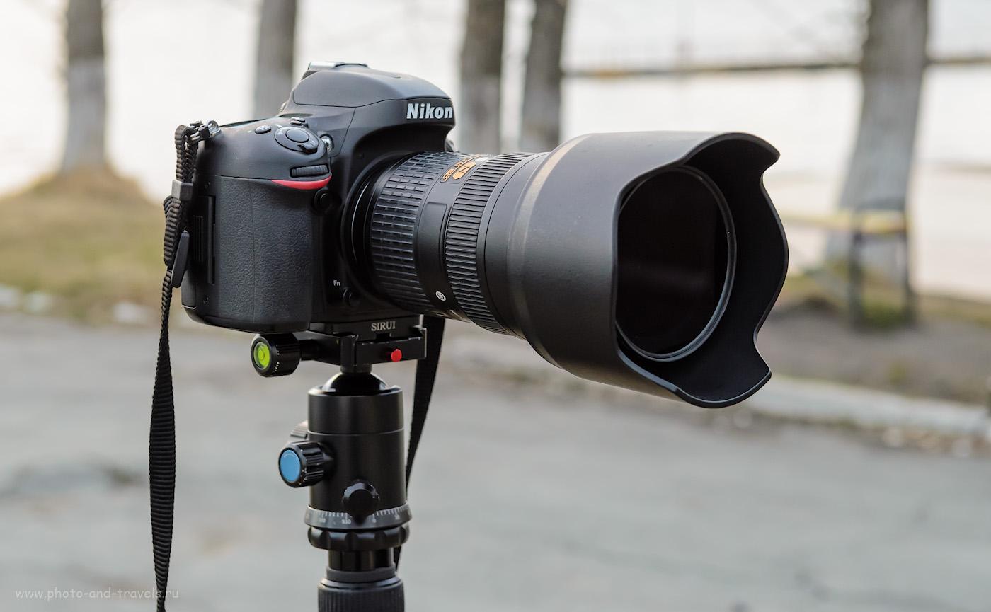 Фотография 5. Крепление камеры с тяжелым объективом к штативу в горизонтальном положении через быстросъемную площадку. 1/60, 6.3, 800, 48.