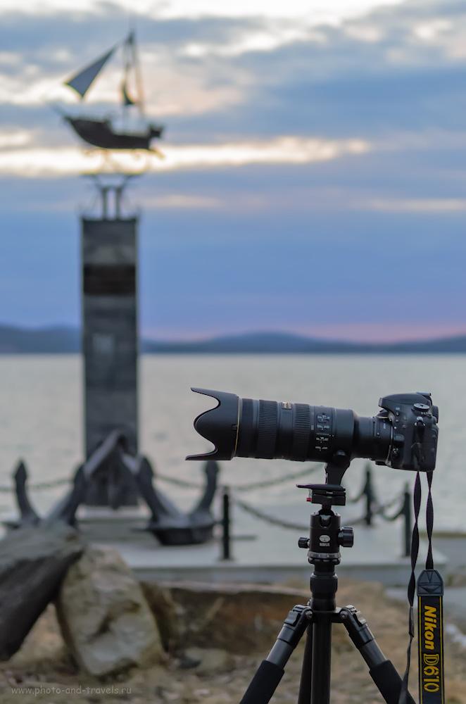 Фото 6. Фиксация тяжелого фотоаппарата и объектива на штативе в горизонтальном положении не вызывает проблем. При съемке вертикальных кадров могут возникнуть неудобства. 1/400, -0.33, 2.8, 1000, 55.