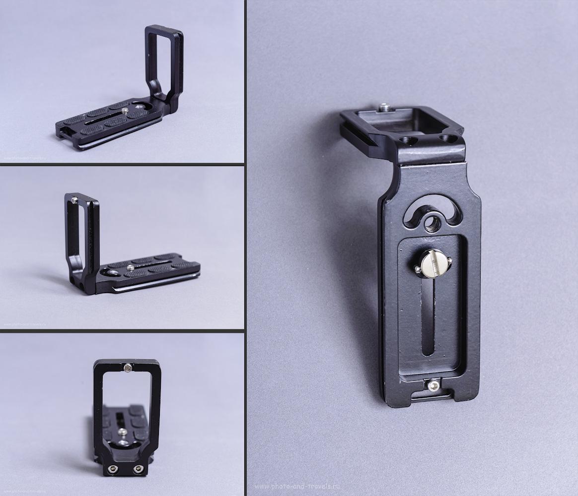 Фото 2. Кронштейн L-Plate (другие названия: L-bracket (дословный перевод – L-образная скоба), угольник, L-образный кронштейн, Г-образный кронштейн). Предназначен для крепления на штативы с головой, имеющей фиксатор типа «arca-swissquick release system». Снято на Nikon D610 с трансмиттером Yongnuo YN-622N и внешней вспышкой Yongnuo YN-685N.  1/13, +2.0, 8.0, 100, 70.