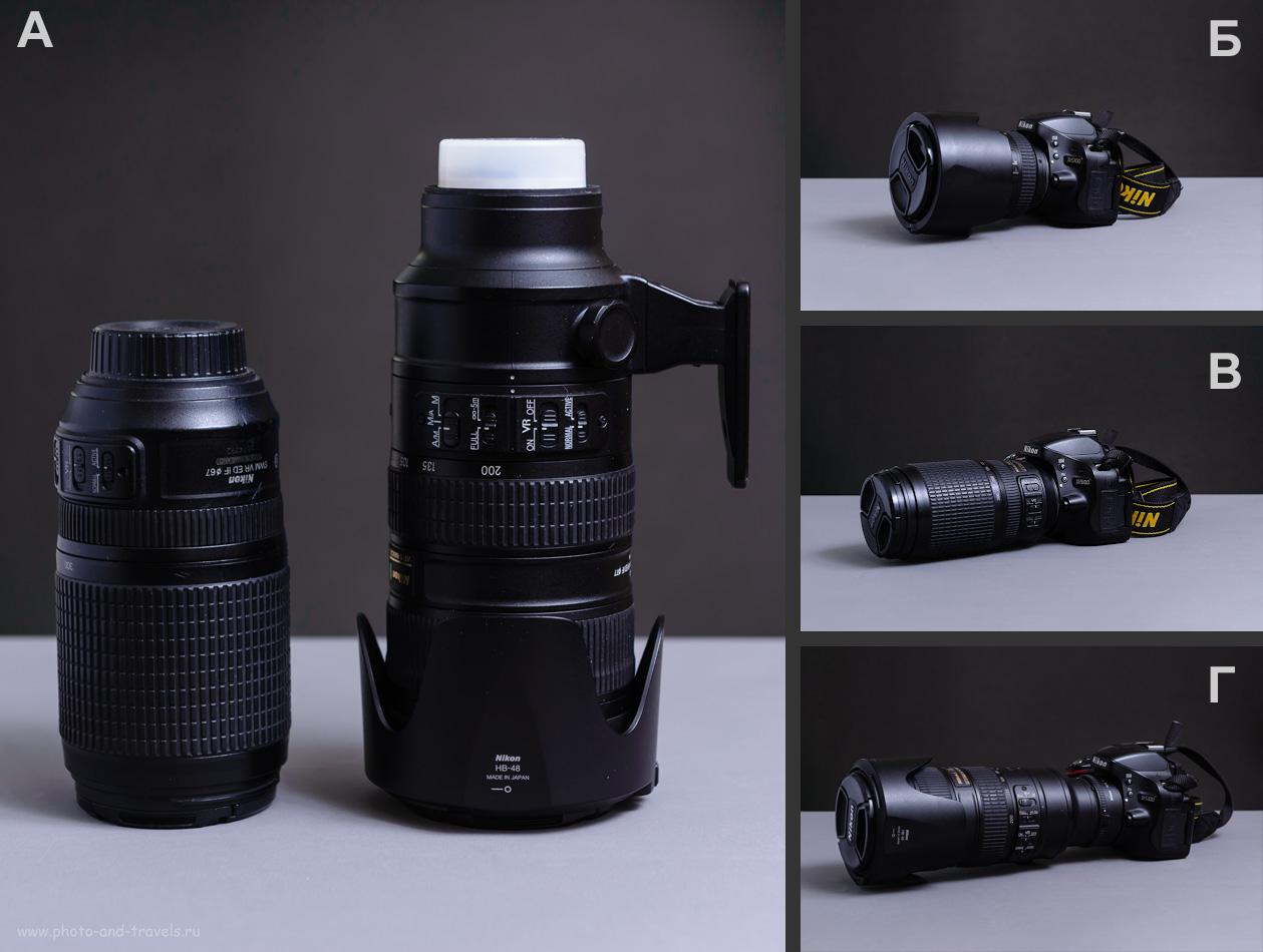 30. Сравнение размеров объективов для зеркалок. А - Nikon 70-300mm f/4.5-5.6 vs Nikon 70-200mm f/2.8. Б - камера Nikon D5100  со светосильным репортажником Nikon 17-55mm f/2.8G. В - с телевиком 70-300/4,5-5,6. Г - со светосильным телеобъективом Nikon 70-200mm f/2.8G и экстендером Nikon TC-14E II.