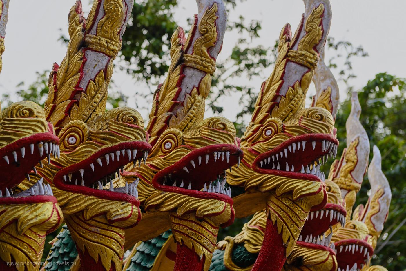 Фото 23. Нага в храме Wat Phra Yai у статуи Большого Будды в Паттайе. Отзывы туристов о самостоятельной поездке на отдых в Таиланд в октябре. Что интересного можно посмотреть в городе и его окрестностях. 1/160, -1.67, 4.5, 160, 70.