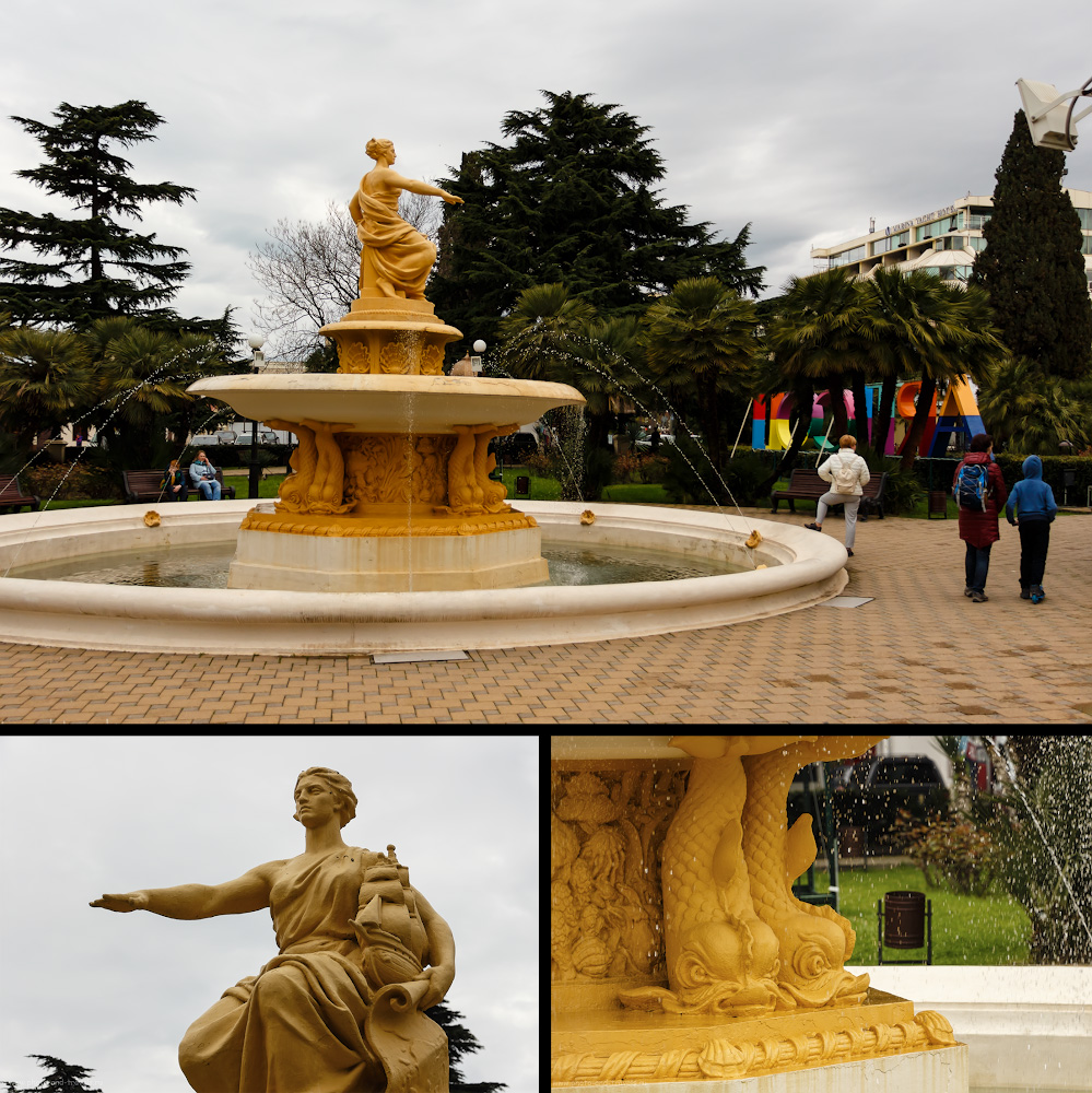 Фото 6. Фонтан «Богиня мореплавания» на площади перед Морским вокзалом в городе-курорте Сочи.