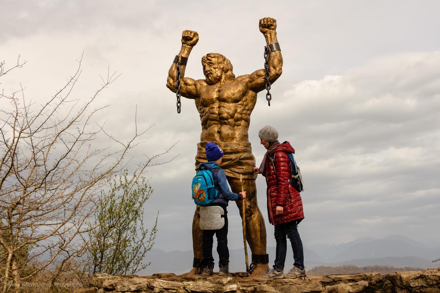 Фотография 20. Скульптура Прометея на Орлиных скалах. Самые интересные места в окрестностях Сочи. 1/200, f/10, ISO 100, 27мм