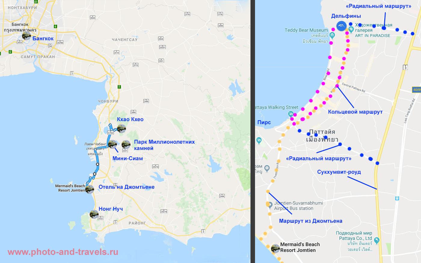 3. Карта маршрута поездки в зоопарк «Кхао Кхео» из Паттайи. Как добраться сюда самостоятельно с детьми. Оранжеваый пунктир - тук-туки из Джомтьена в центр; синий - маршруты синих тук-туков отСукхумвит-роуд в центр; малиновый - кольцевая линия тук-туков.