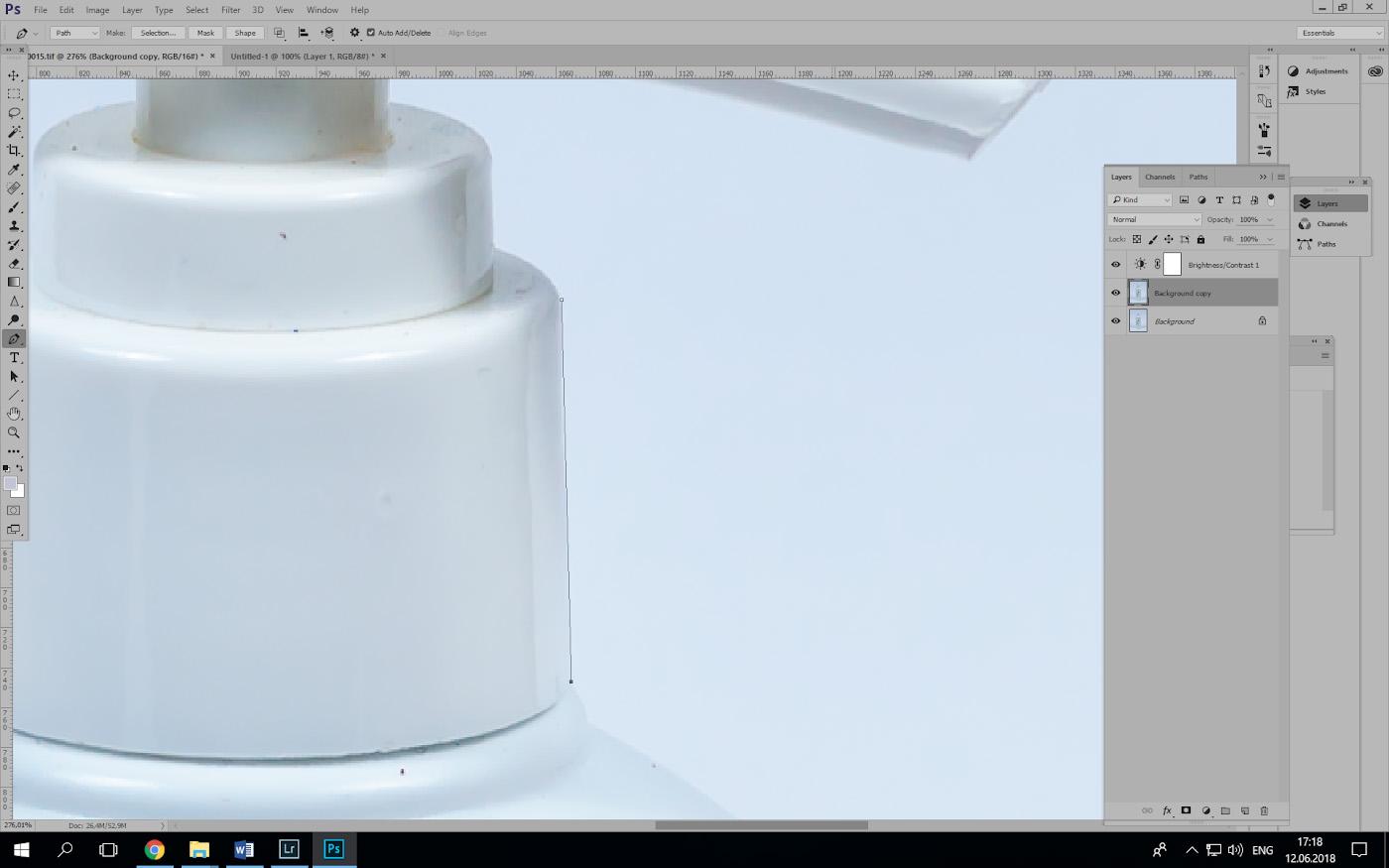 Фотография 20. Использование инструмента «Pen» для обтравки предметных фотографий и получения белого фона.