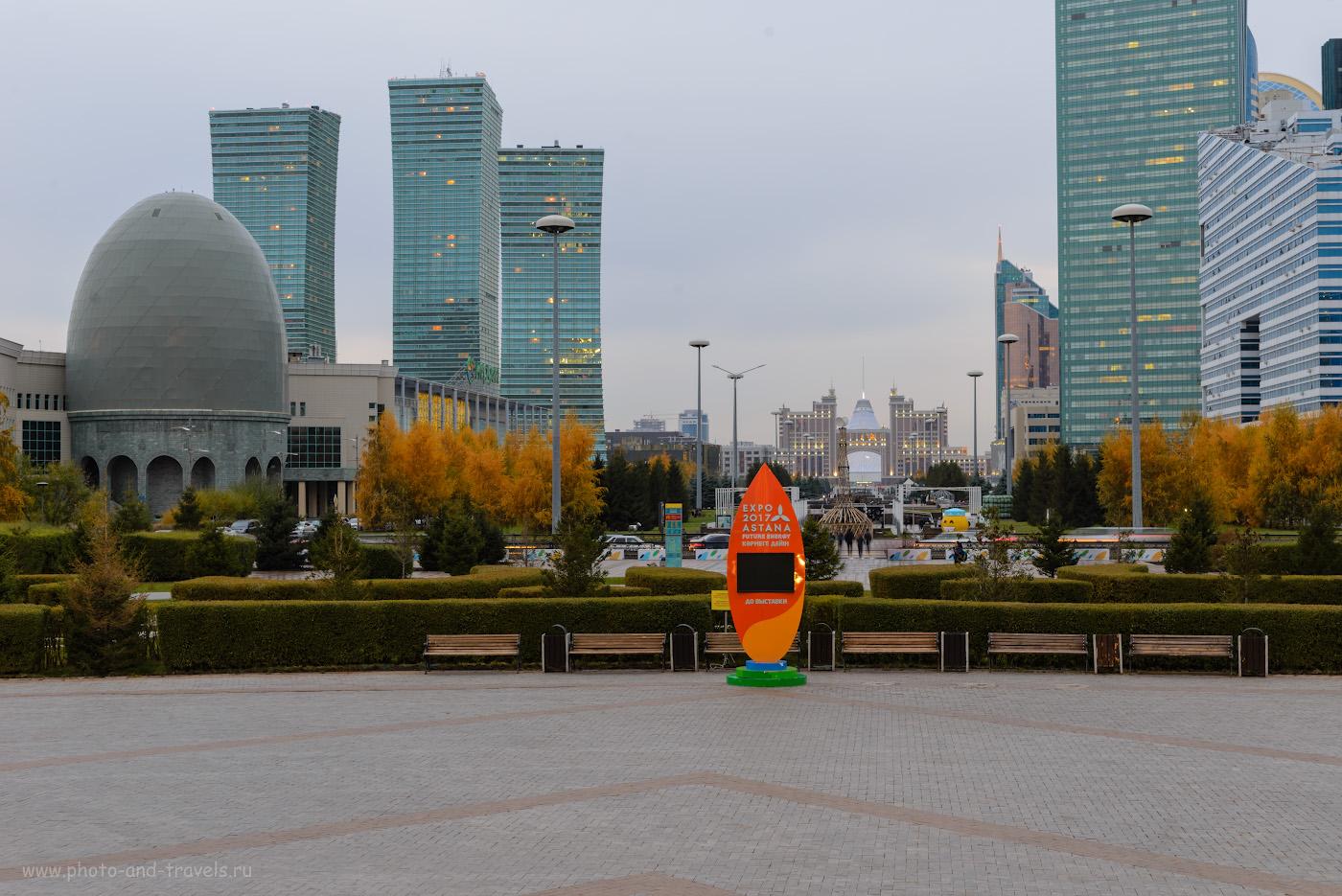 Фотография 13. Вид от подножия монумента «Байтерек» на бульвар Нуржол. Отзывы туристов о прогулке по Астане за полдня. 2.0, +0.33, 9.0, 100, 78.