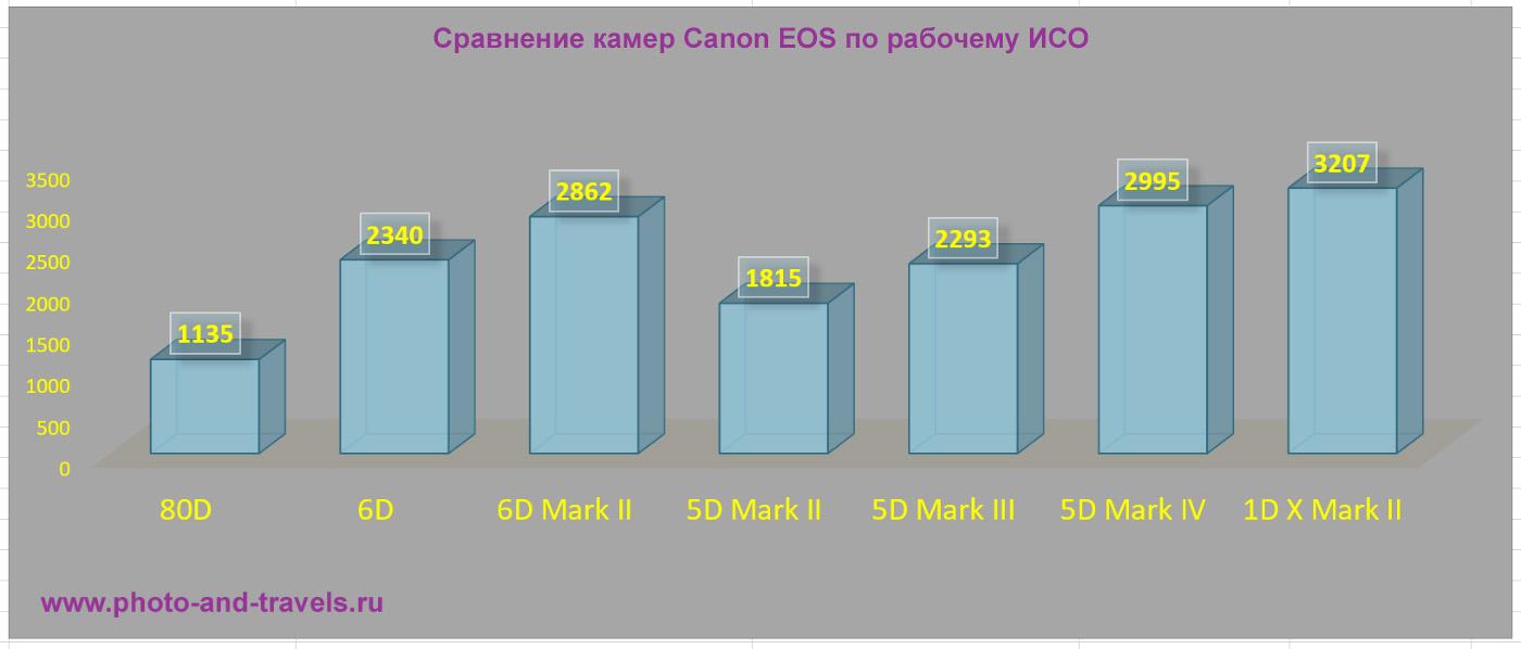 13. Сравнение матриц фотоаппаратов Canon 6D, D5, Canon 1-D X Mark II по рабочему ISO.