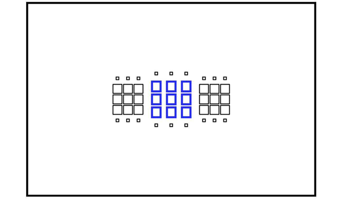 18. Камера Canon EOS 6D Mark II превосходит предшествующую модель Canon EOS 6D по возможности фокусироваться автоматически тёмными телеобъективами в паре с конвертером. Точки, условно обозначенные синим цветом, остаются крестовыми при f/8.0.