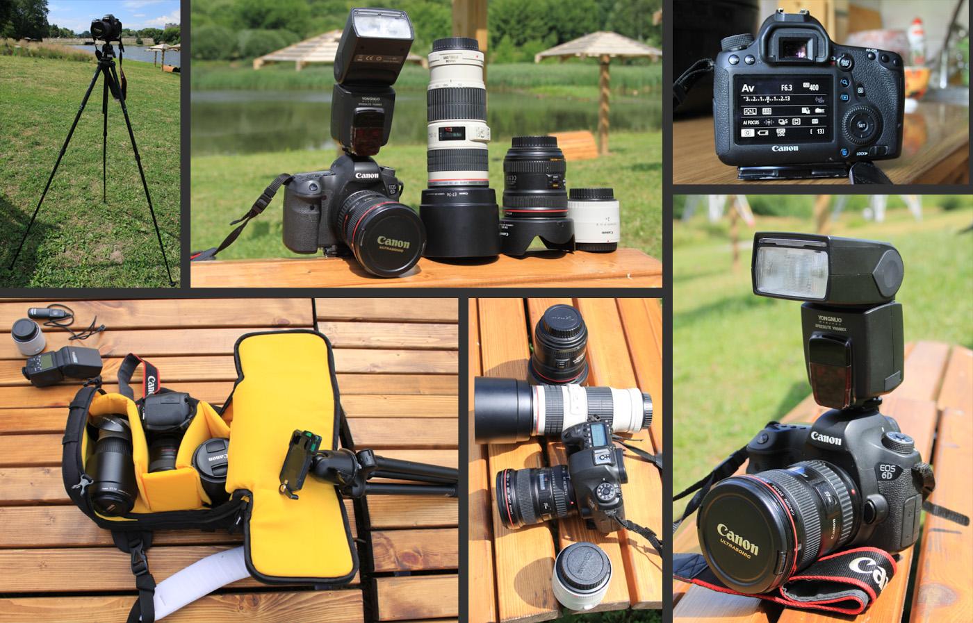 Фото 21. Какой объектив выбрать для полнокадровой камеры Canon EOS 5D или EOS 6D. Так выглядит набор из трех полусветосильных зумов Canon 17-40mm f/4, Canon 24-70mm f/4 и Canon 70-200mm f/4. Михаил еще приобрел экстендер Canon EF 2x III, штатив Velbon Ultra Luxi-L с головой Velbon QHD-730. Все это складывается в фоторюкзак Kata 3N1-22 DL.