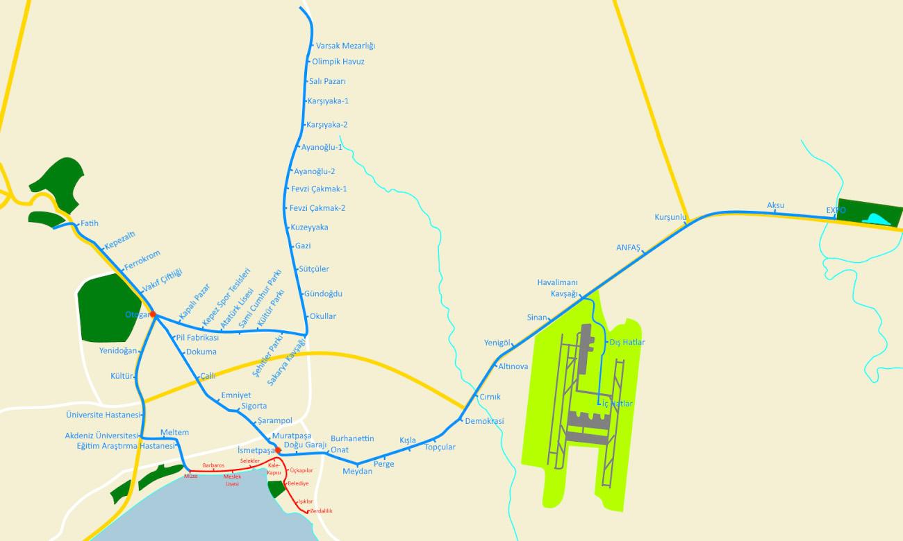Карта движения ретро-трамваев и Antray в Анталии. Как добраться в Калеичи из аэропорта.
