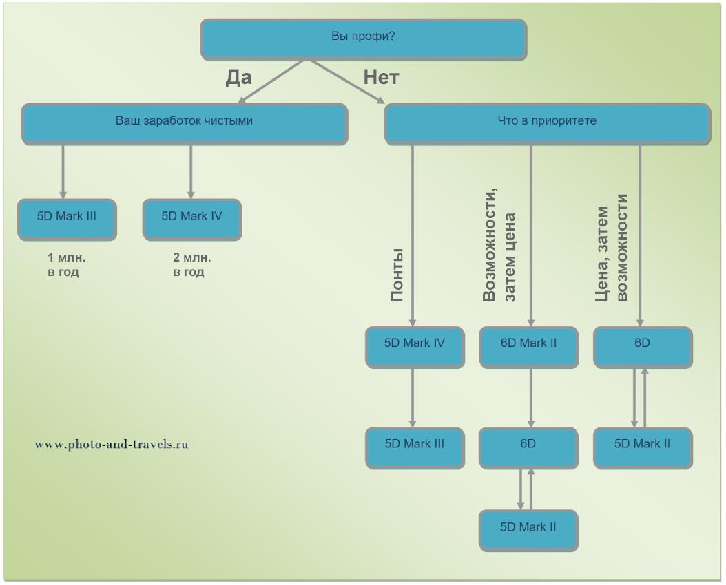 22. Схема с алгоритмом принятия решения, какой полный кадр Canon выбрать любителю или профессионалу: Canon 5D Mark II, III, IV или Canon 6D, 6D Mark II.