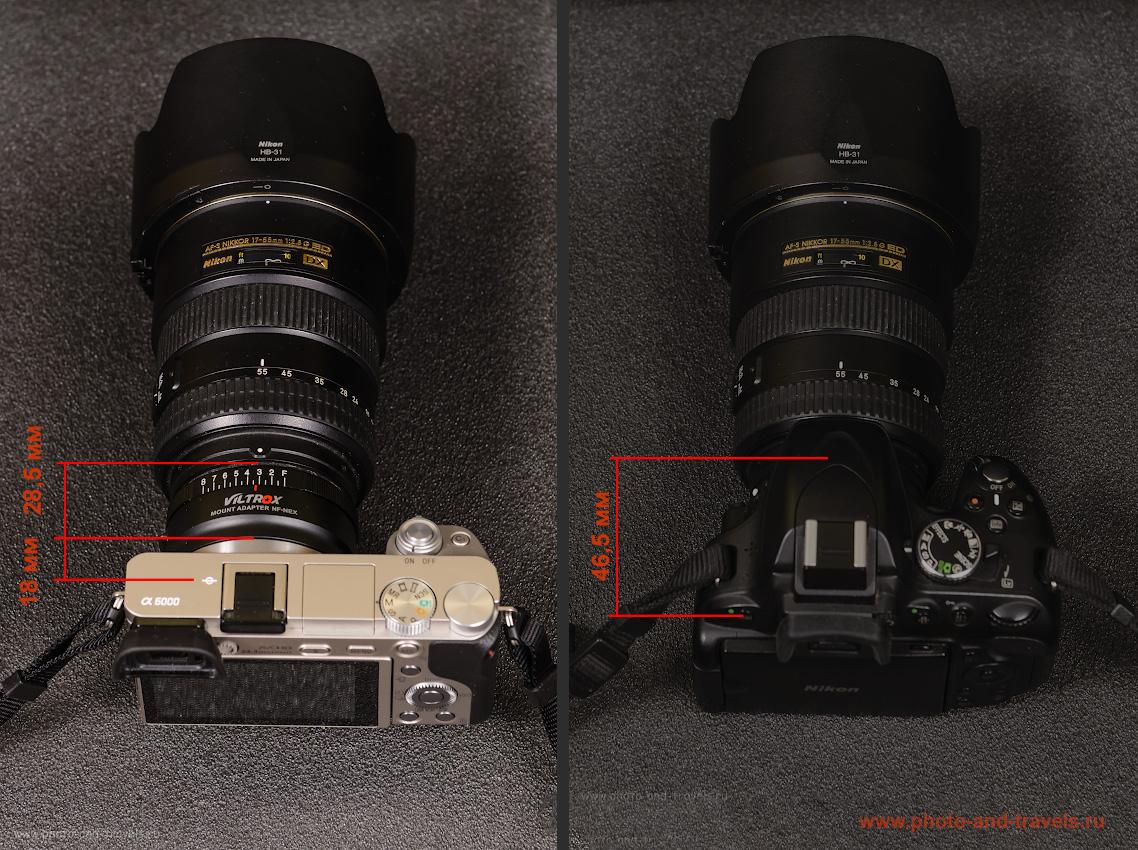 Фото 13. Сравнение рабочего отрезка камеры Sony A6000 и Nikon D5100. Используем объектив Nikon 17-55mm f/2.8 с адаптером Viltrox NF-NEX.