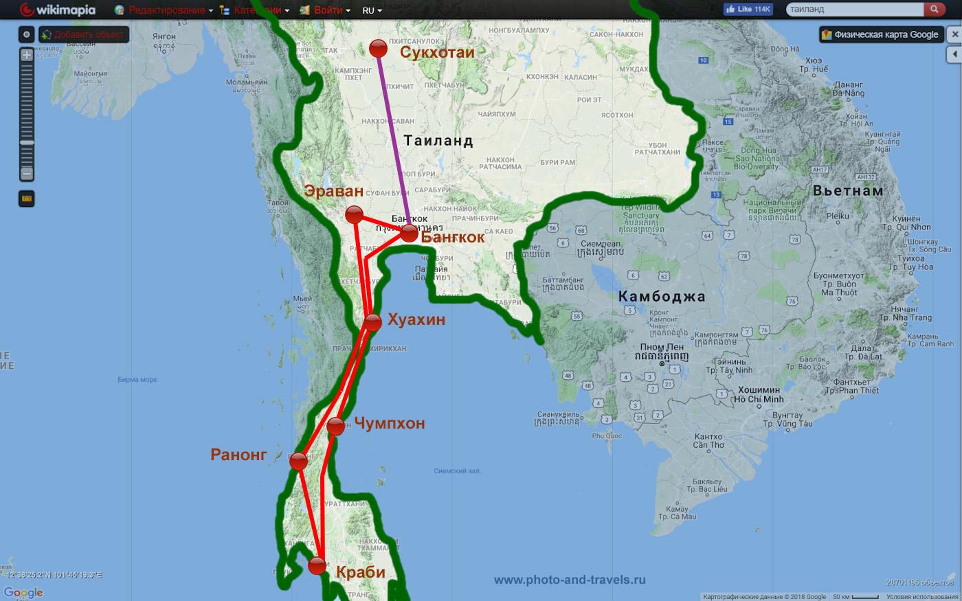 2. Карта с маршрутом самостоятельного путешествия по Таиланду на машине в 2015 году. Отзыв о недорогом отдыхе в этой чудесной стране. Как отправиться в бюджетное путешествие.