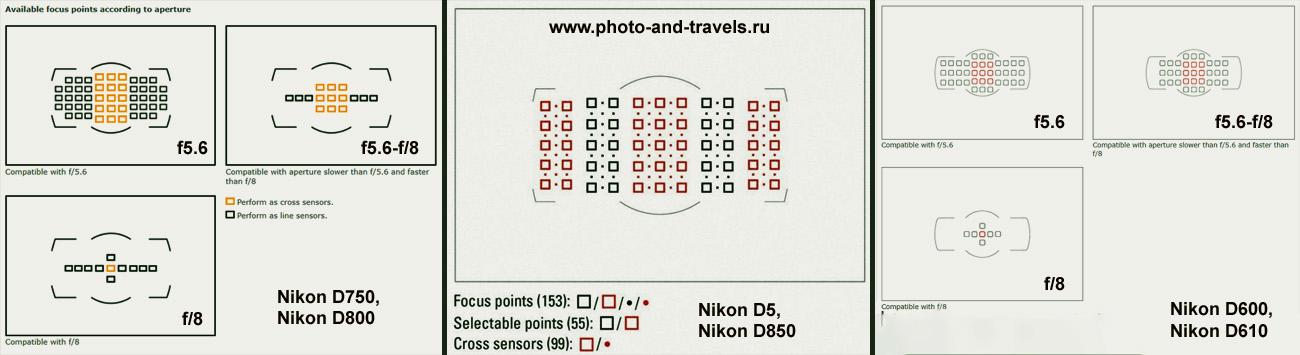 Схема расположения крестовых и обычных точек автофокуса в фотоаппаратах Nikon D610, Nikon D750, Nikon D810 и Nikon D850.
