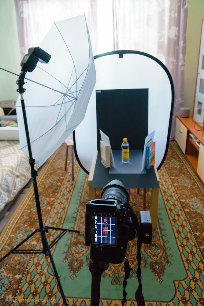 Фото 8. Схема съемки стеклянной бутылки на черном фоне. Снято на Sony A6000 KIT 16-50mm f/3.5-5.6 с настройками: 1/60, +2.0, 3200, 16.
