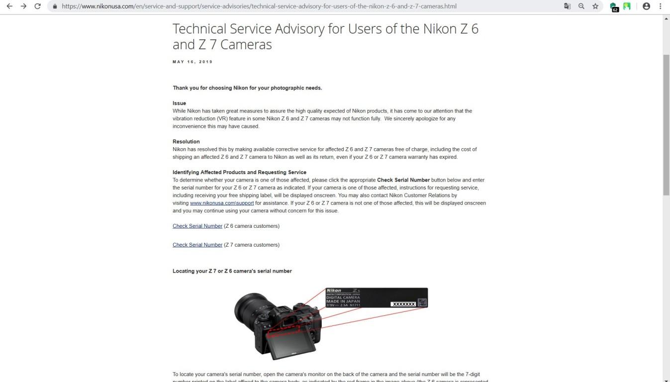 """Извещение службы технической поддержки """"Nikon"""" в США о бесплатном устранении проблемы со стабилизатором изображения в беззеркалках Nikon Z6 и Nikon Z7."""