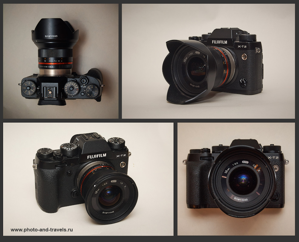 Фото 6. Так выглядит камера Fujifilm X-T2 с навинченным на нее сверширокоугольным фиксом Samyang 12mm f/2.0 NCS CS Fujifilm X.