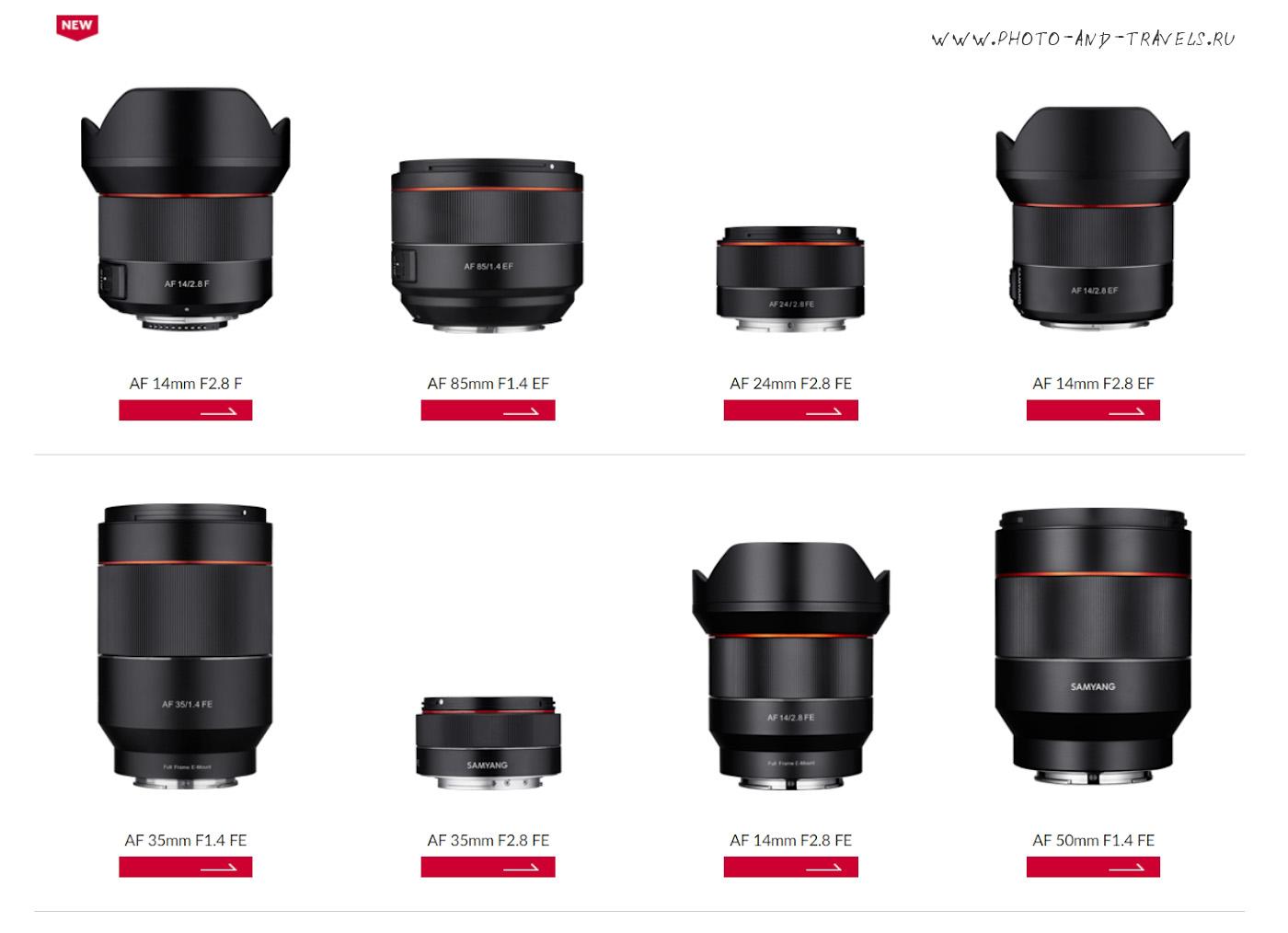20. Перечень автофокусных объективов Samyang под байонеты Nikon F, Sony FE и Canon M.