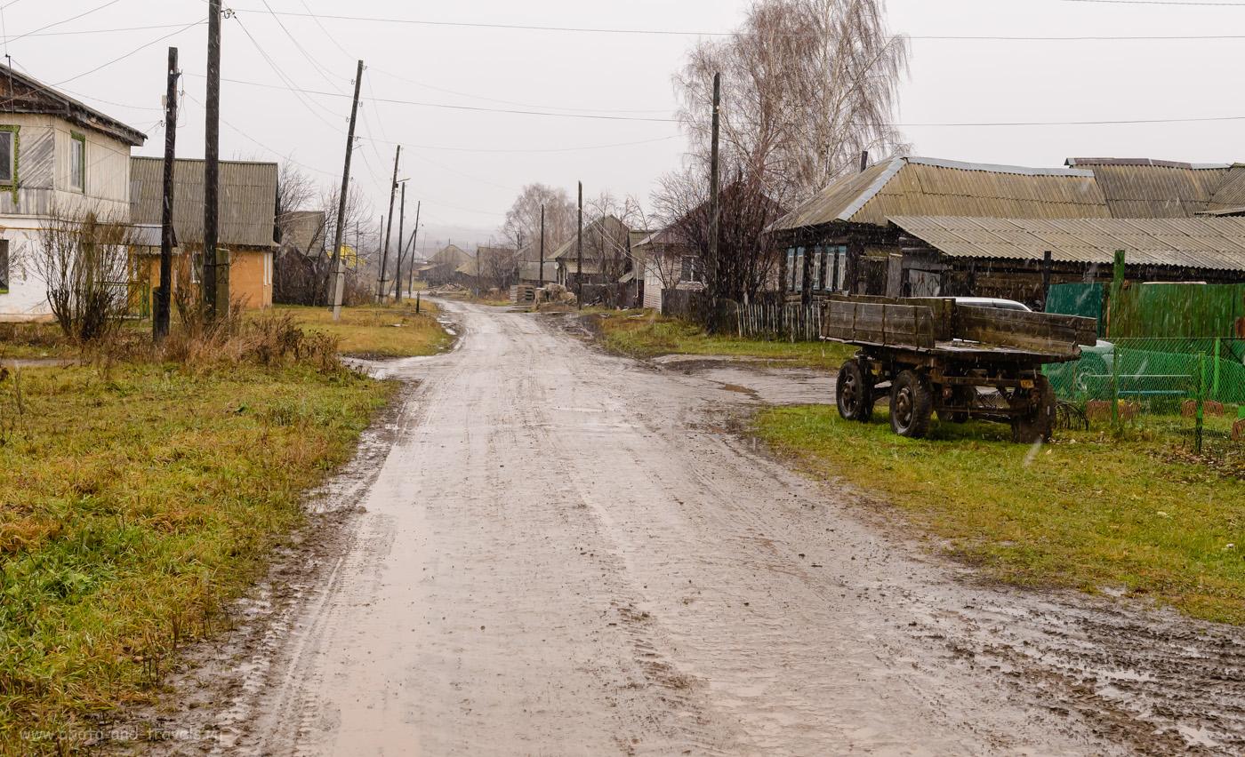 Фото 2. Улица в деревне Веслянка. Отчет о поездке на авто по Юго-Востоку Пермского края. Снято на Nikon D610 + Nikon 17-55mm f/2.8G. Настройки: 1/100, +0.33, 8.0, 1000, 32.