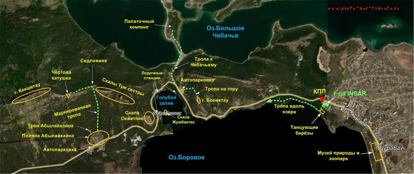 Карта маршрутов с расположением достопримечательностей на озере Боровом. Отзыв об отдыхе в Бурабае. Как мы ездили в Казахстан на машине из России.