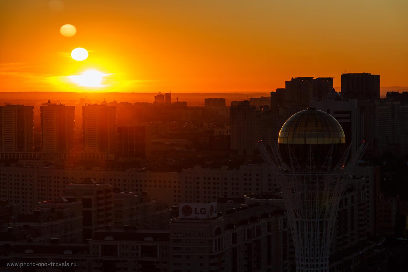 Снимок 39. Два солнца: на горизонте и на «Байтереке». Прекрасное утро в Астане. 1/200, +0.3, 8, 200, 97.