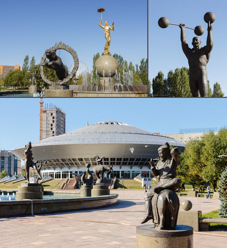Фотография 40. Астанинский цирк («Астана циркы») и фонтан «Цирк» с фигурами артистов.