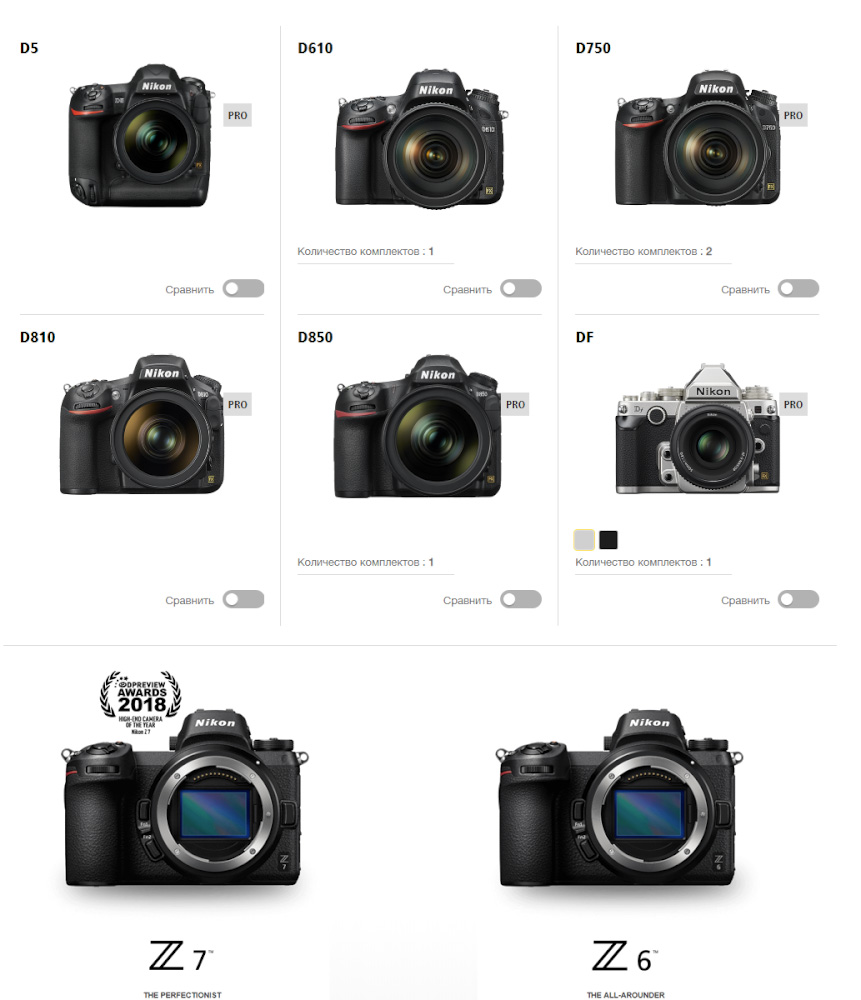 40. Какую полнокадровую камеру Nikon купить: зеркалку Nikon D610, Nikon D750, Nikon D800, Nikon D810, Nikon D850, Nikon DF, Nikon D5 или беззеркалку Nikon Z6, Nikon Z7?