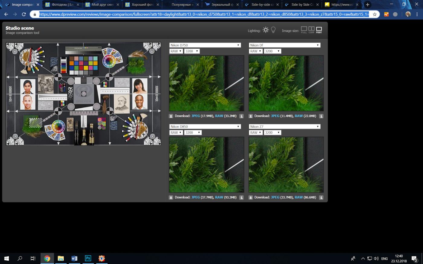 42. На сайте DPReview можно выбрать камеру, ISO и скачать RAW, чтобы сравнить картинку с разных камер. Сравнение Никон Д750, Никон Дф, Никон Д850 и Никон Зет 7.
