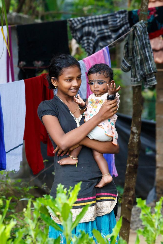 Молодая мама в Керале. Отдых в Индии.