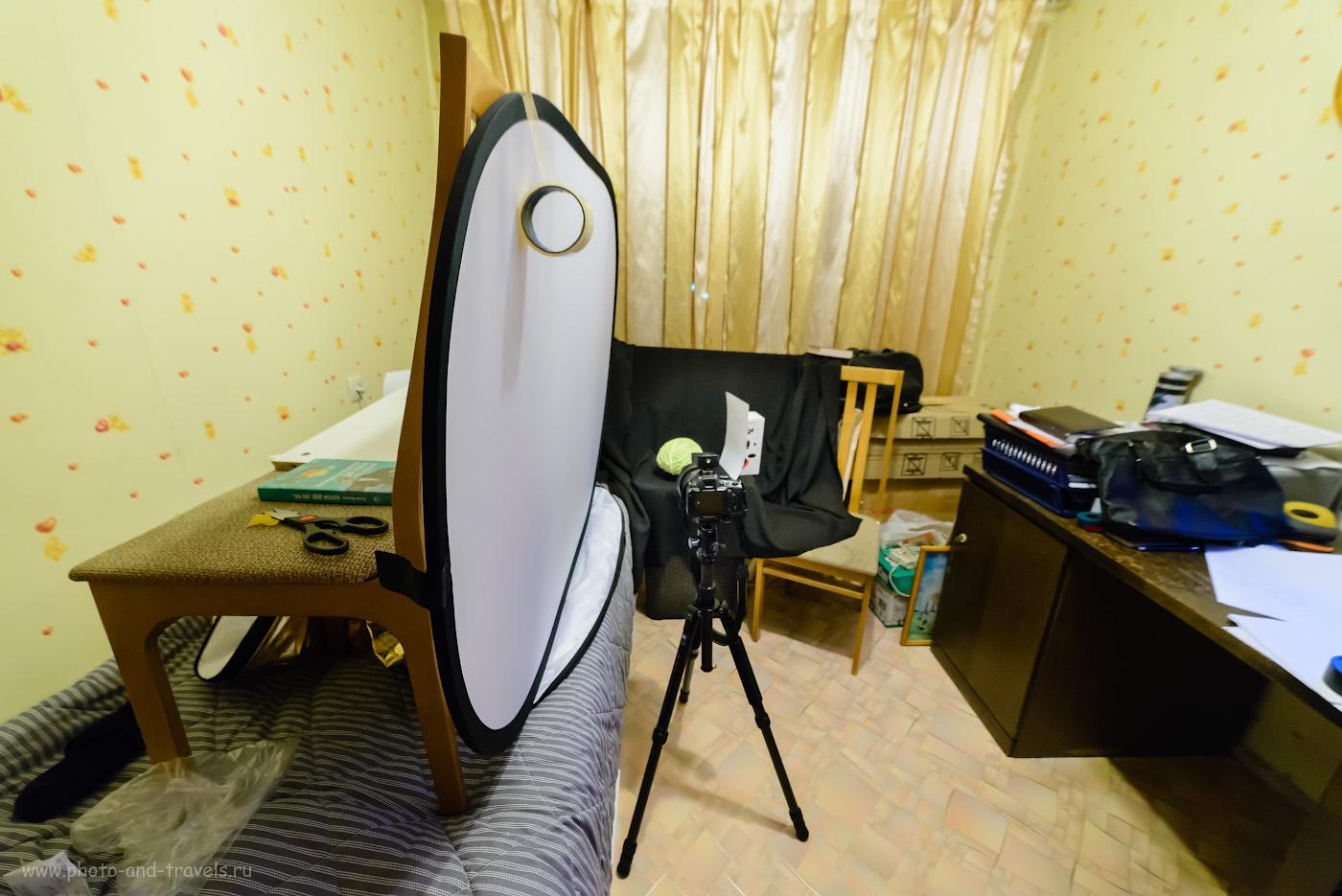 Фото 8. Софтбокс для съемки овощей в домашней студии, сделанный своими руками. Снята эта иллюстрация при свете энергосберегающих ламп на Никон Д610 + Самъянг 14/2.8. Настройки: 1/30, 5.6, 500, 14.